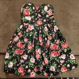 Strapless Floral Bandeau Dress w/ Built in Bra